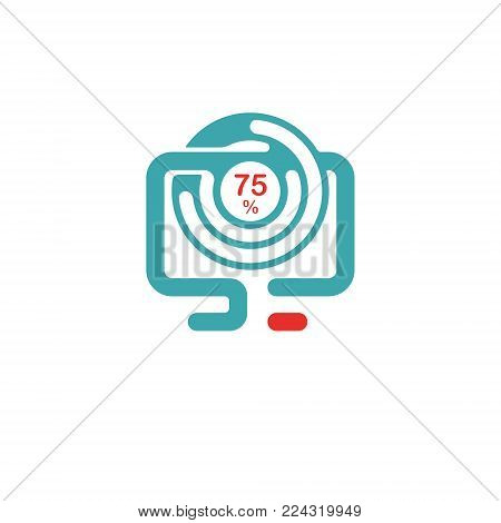 Circle progress icon vector illustration. Red and blue progress round icon on white background. Downloading percent indicator. Round progress icon on pc laptop.