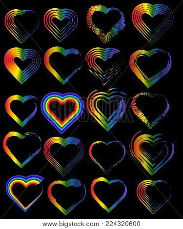 A set of rainbow hearts. The concept of freedom to choose a partner for relationships, homosexuality.