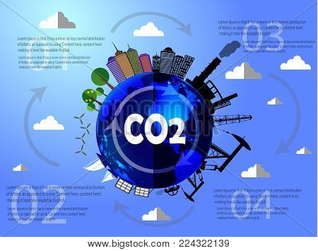 Planet in danger vector infographic desighn with city plant and oil half clean energy like sun battery wind pour and half pollution plant and factory