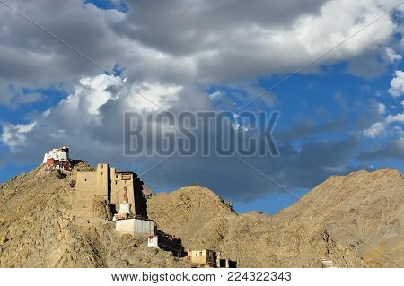 View on the beautifully Leh palace in the Leh city in Ladakh, Jammu and Kashmir. This region is a purpose of motorcycle expeditions organised by Indians