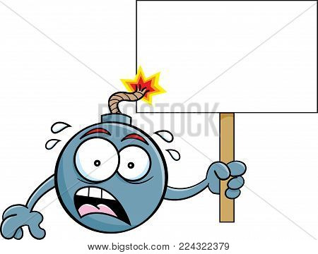Cartoon illustration of a worried bomb with a lit fuse holding a sign.