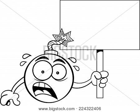 Black and white illustration of a worried bomb with a lit fuse holding a sign.