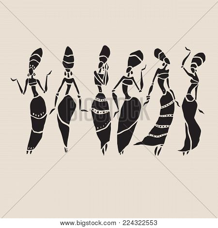 Silhouette of woman. Afro-american woman isolated on white. Dancing woman in traditional ethnic style. Vector Illustration.