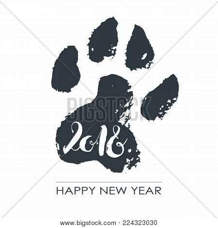 Black hand drawn isolated dog footprint. Grunge ink illustration. 2018 happy chinese new year. Calligraphy numeric. Minimalistic poster.