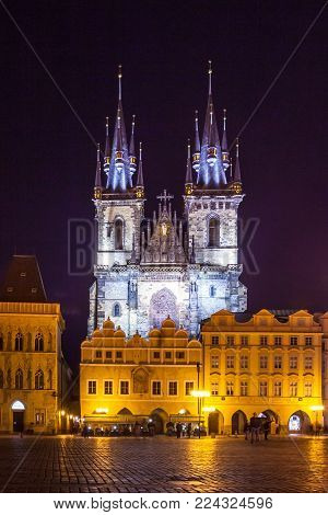 Powder Tower And Municipal House At Night In Prague