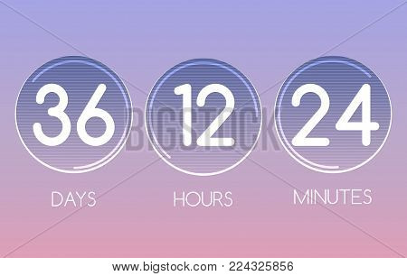 Digital countdowns. Vector round countdown numbers panel design, coming counting clock construction for web vector illustration