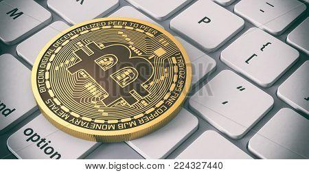 closeup view of a bitcoin coin over a computer keyboard (3d render)