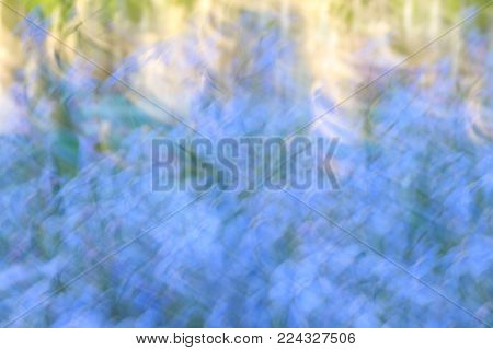 Abstract blurred flower meadow with movement effect.  Natural background in blue and green tones with directional blur, motion effect and long exposure.