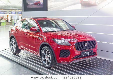 BORYSPIL AIRPORT, UKRAINE - January 26, 2018: Jaguar E-Pace R-dynamic sport version exhibited at Kiev internatiol airport Boryspil.