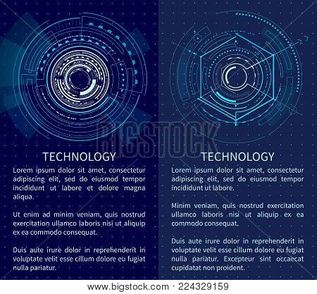 Technology poster with bright interface shapes vector illustration with text sample lot of lines and polygons isolated on dark blue backdrop with dots