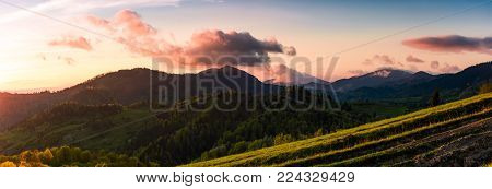 panorama of mountains at sunset. beautiful landscape with purple clouds and green hills in springtime