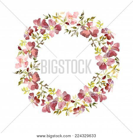 Wreath made of gentle red flowers and green and yellow leaves. Brier twig on white background. Round shape. Watercolor painting. Hand drawn.