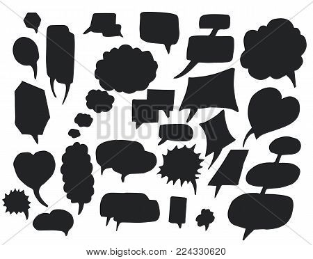 Bubbles silhouettes of hand drawn elements of different shape, objects used in conversations and discussions, isolated on vector illustration