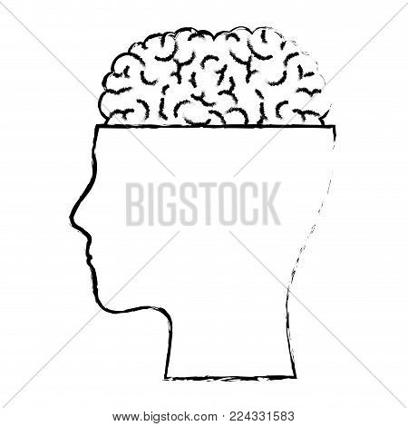 human face silhouette with brain exposed in black blurred contour vector illustration