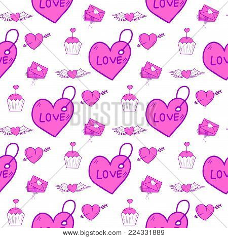 Simple red heart sharp vector seamless pattern background pink color card beautiful celebrate bright emoticon symbol holiday abstract art decoration. Romance shape design love amour.