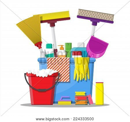 Bottle of detergent, sponge, soap and rubber gloves. Bucket, MOP, broom, dustpan. Accessories for washing dishes and house cleaning. Dishwashing. Vector illustration in flat style