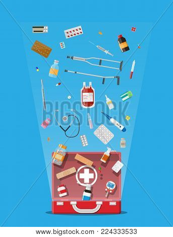 Medicine pills capsules, bottles and healthcare devices. First aid kit. Healthcare, medical diagnostics. Urgency emergency services. Vector illustration in flat style