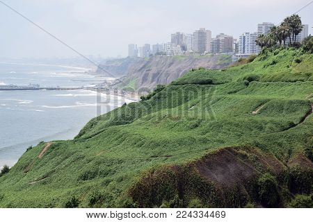 Coastline in Miraflores a district in the south of Lima, Peru