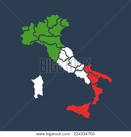 Italy map and flag. Map italy with regions. Vector stock.