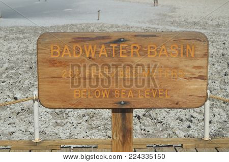 Sign Bad Water Basin. The Lowest Place Below The Sea Level. Gigantic Salt Lagoons. Travel holydays Geology. June 28, 2018. Death Valley California. EEUU. USA.