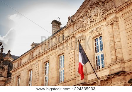 BORDEAUX, FRANCE - January 26, 2018 : architectural detail of the regional chamber of accounts of Nouvelle Aquitaine on a winter day