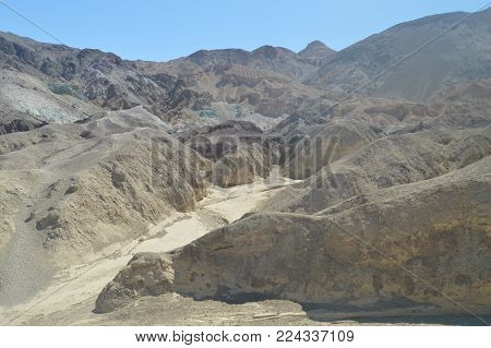 Artist's Palette. The Lowest Place Below The Sea Level. Gigantic Salt Lagoons. Travel holydays Geology. June 28, 2018. Death Valley California. EEUU. USA.