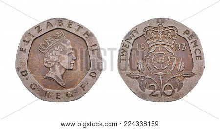British Twenty Pence Coin - Obverse Showing Queen Elizabeth the Second. Isolated on white background