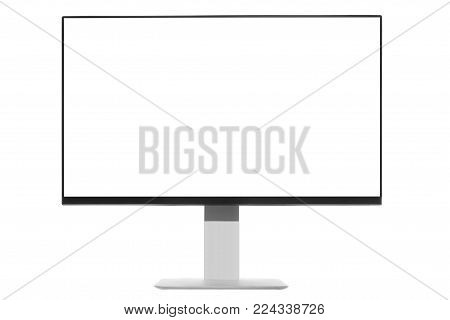 Computer display with blank white screen. Front view. Isolated on white background