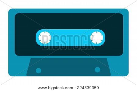 Blue old, vintage, retro, hipster, musical audio cassette from the 80's, 90's on a white background. Vector illustration.