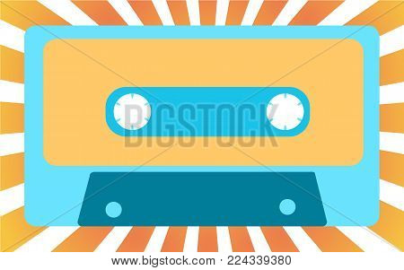 Blue old, vintage, retro, hipster, musical audiocassette from the 80's, 90's against the background of yellow sunlight. Vector illustration.