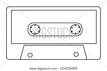 Black and white with outline, antique, old, vintage, retro, hipster, musical audio cassette from the 80's, 90's on a white background. Vector illustration.