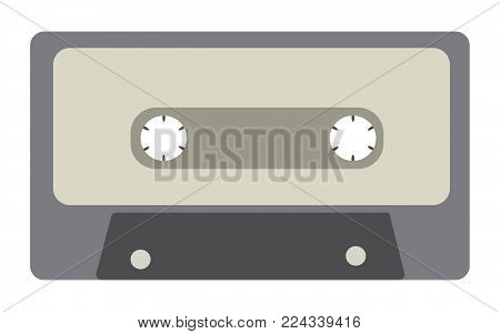 Black and white, antique, old, vintage, retro, hipster, musical audio cassette from the 80's, 90's on a white background. Vector illustration.