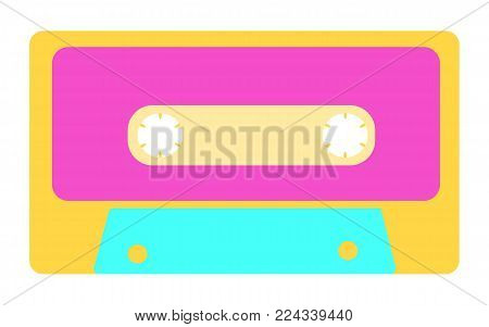 Blue, yellow, purple, antique, old, vintage, retro, hipster, musical audio cassette from the 80's, 90's on a white background. Vector illustration.