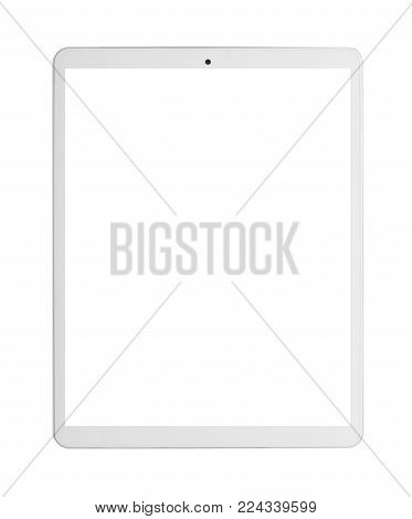 Modern white tablet pc with blank screen. isolated on white