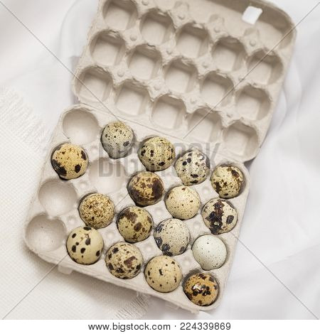 Several Quail eggs in open carton package, rustic linen napkin. Flat lay, top view. Concept for Easter, spring, organic food, dieting. Square