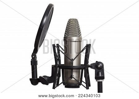 Studio condenser microphone with spider isolated on white background
