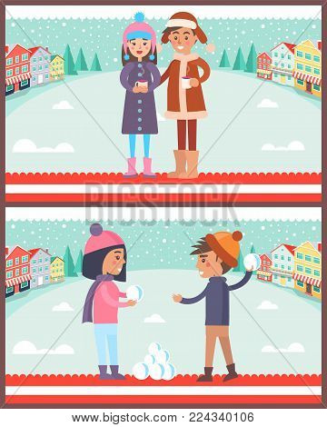 Happy couple boy and girl going to play snowballs outdoors wintertime, man and woman with cups of hot drinks vector illustrations on winter cityscape