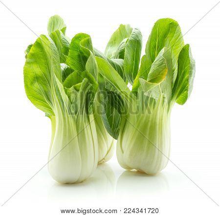 Bok choy (Pak choi) isolated on white background three fresh cabbages