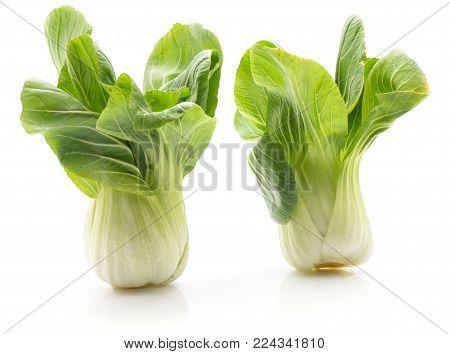 Bok choy (Pak choi) two cabbages isolated on white background fresh raw