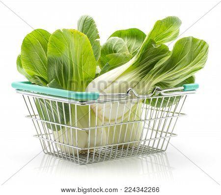 Bok choy (Pak choi) in a shopping basket isolated on white background fresh raw