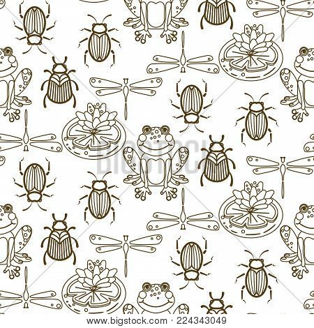 Elegant line style insect vector seamless pattern. Gold and white beetles, frogs and dragonfly repeat texture.