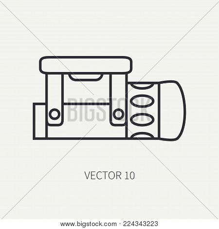 Line flat vector diver underwater equipment icon underwater flashlight. Retro style. Ocean, sea beach. Snorkeling. Summer adventure vacation. Scuba aqualung. Illustration element for design, wallpaper