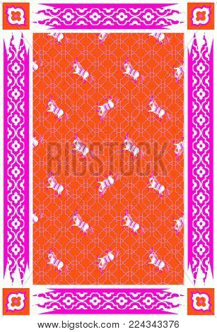 Circus horse red and pink vector carpet design. Persian style modern rug decor with rough texture.