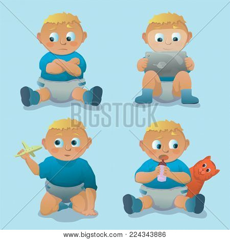 collection of children's poses.Cartoon characters. Stock vector illustration