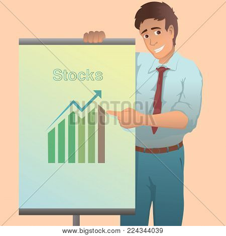 Confident young man standing near flip chart and pointing.Creative business concept. Vector illustration. Flat design