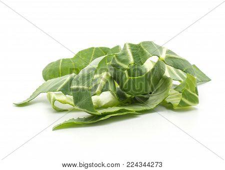 Chopped bok choy (Pak choi) leaves isolated on white background fresh stack