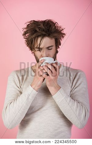Cold and flu, single. Insomnia, refreshment and energy. Sleepy guy with tea cup on pink background. Morning with coffee or milk. Man with disheveled hair drink mulled wine.