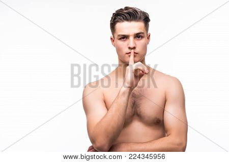 Portrait Of Handsome Shirtless Man Showing Silent Gesture