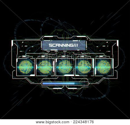 Finger Scan in Futuristic Style. Biometric id with Futuristic HUD Interface. Fingerprint Scanning Technology Concept Illustration. Identification System Scanning.