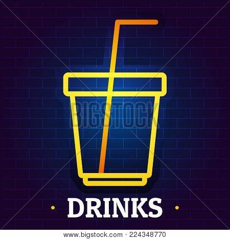 Drinks signboard logo. Flat illustration of drinks signboard vector logo for web